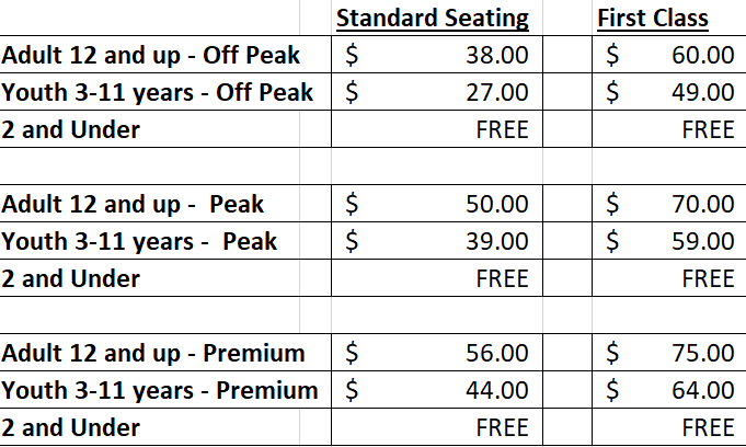Polar Express pricing